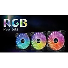 3Pcs x case FAN 120mm RGB with RGB Controller RAIDMAX